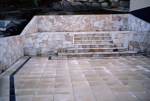 Outdoor paved area with steps
